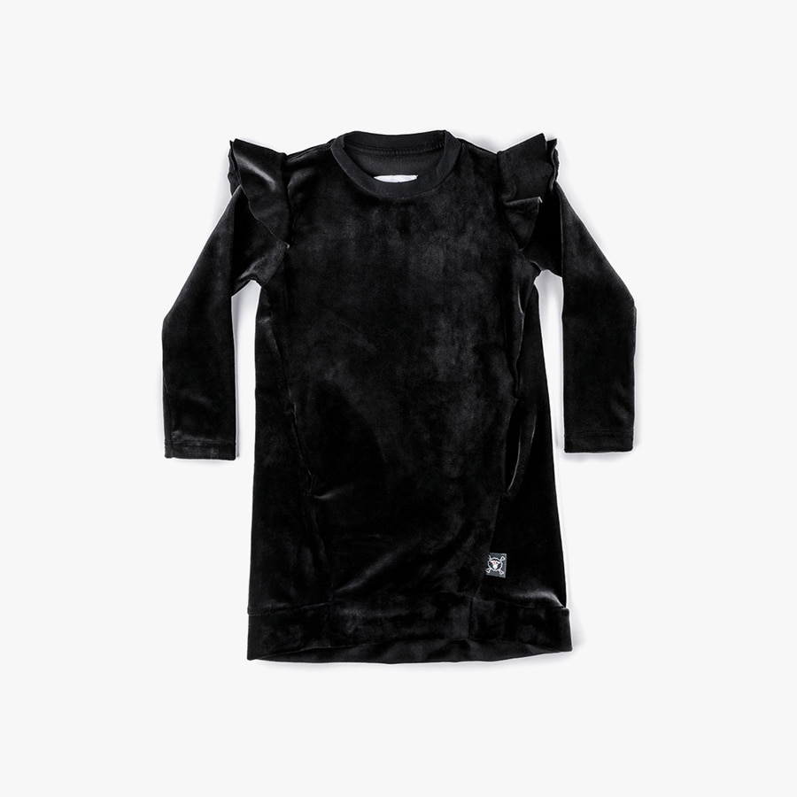VELVET RUFFLED SLEEVE DRESS (kids)